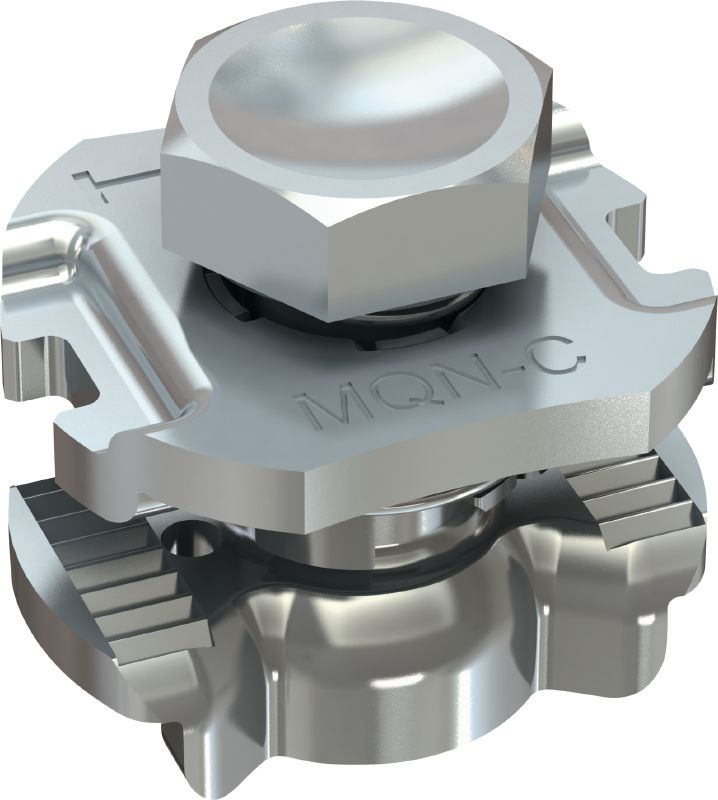 MQN-C Galvanised channel connector for joining any elements with a butterfly opening