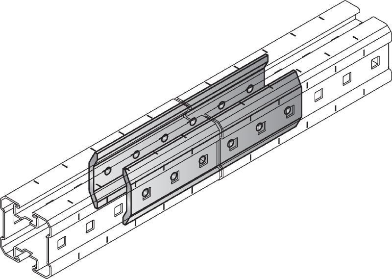 MIQC-E Hot-dip galvanised (HDG) connector used to connect MIQ girders longitudinally for long spans in heavy-duty applications