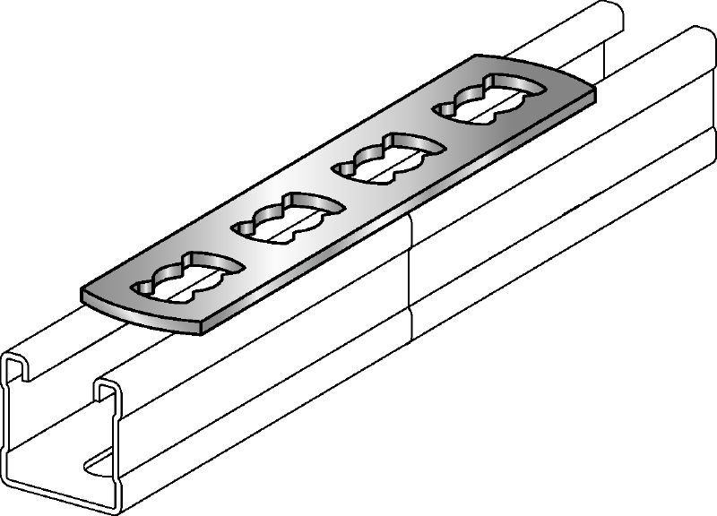 MQV-F Hot-dip galvanised flat channel connector used as a longitudinal extender for MQ strut channels