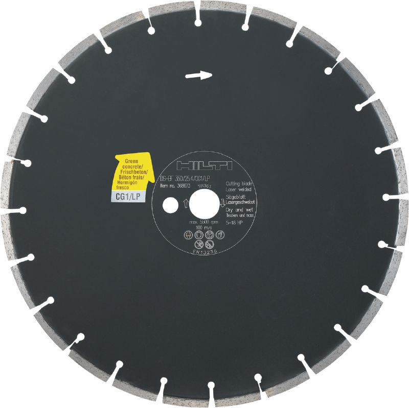 Floor saw blade CG1/LP Premium floor saw blade (5-18 HP) for floor sawing machines – designed for cutting green concrete