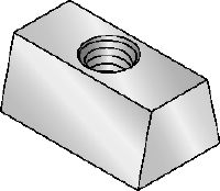 Galvanised wedge nut used for fastening threaded rods to metal decks
