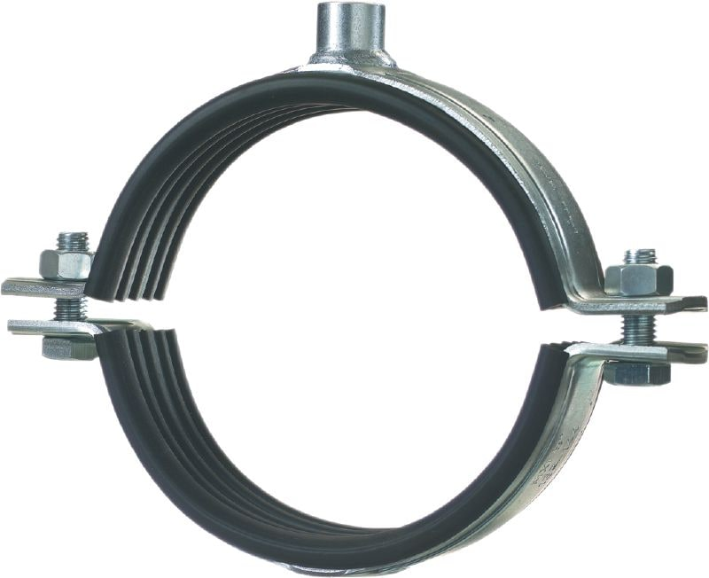 MP-MXI Premium galvanised pipe clamp with sound inlay for extra heavy-duty piping applications (metric)
