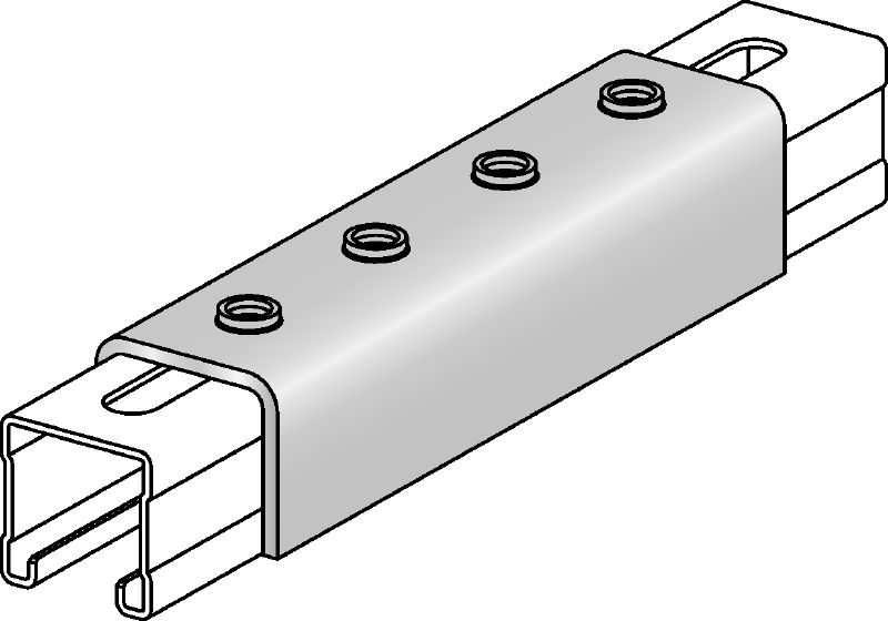 MQV-F Hot-dip galvanised channel connector used as a longitudinal extender for MQ strut channels