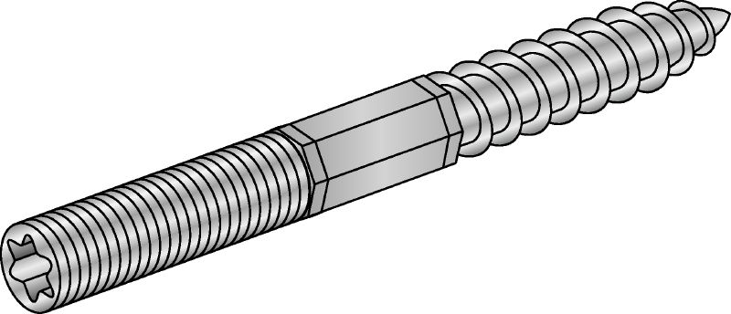 Galvanised hanger bolt with steel grade 4.6 and Torx head