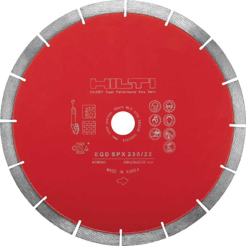 SPX Silent Ultimate silent diamond blade with Equidist technology for cutting in different base materials