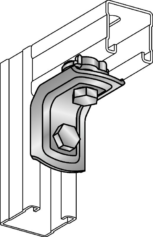 MQW-Q2 Galvanised 90-degree pre-assembled angle for connecting multiple MQ strut channels