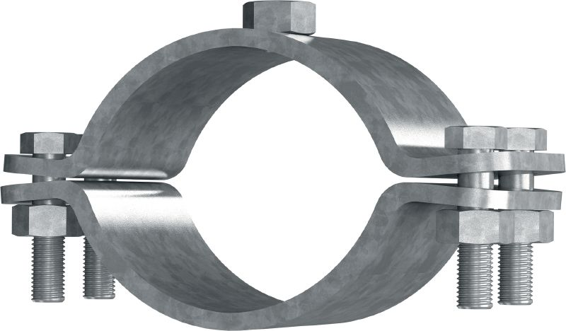 MFP-F Premium hot-dip galvanized (HDG) fixed point pipe clamp for maximum performance in heavy-duty piping applications