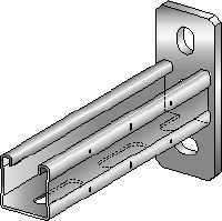MQK-41-F Hot-dip galvanised (HDG) bracket with a 41 mm high, single MQ strut channel for medium-duty applications