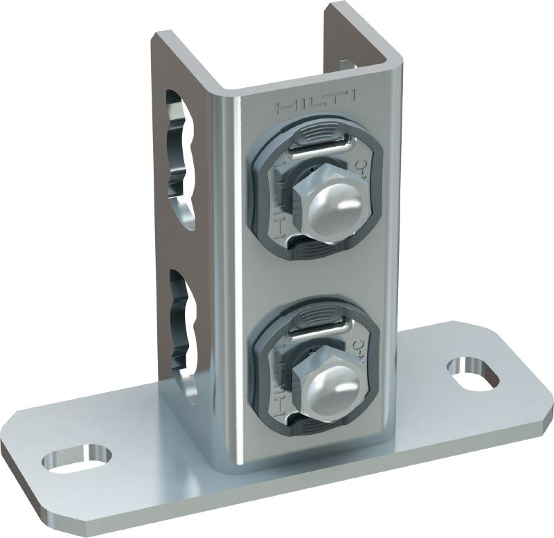 MQP-41-CP Ultimate galvanised pre-assembled rail support for fastening MQ strut channels to substructures