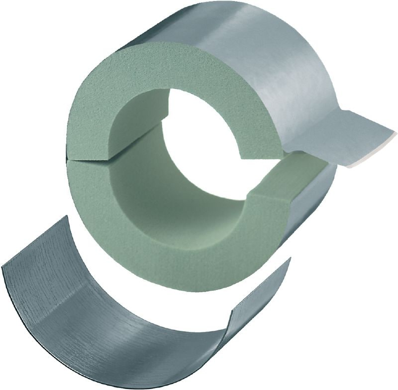 MI-CF LS Standard galvanized pipe clamp with load sharing for refrigeration applications with 40 mm insulation (M10/M12)